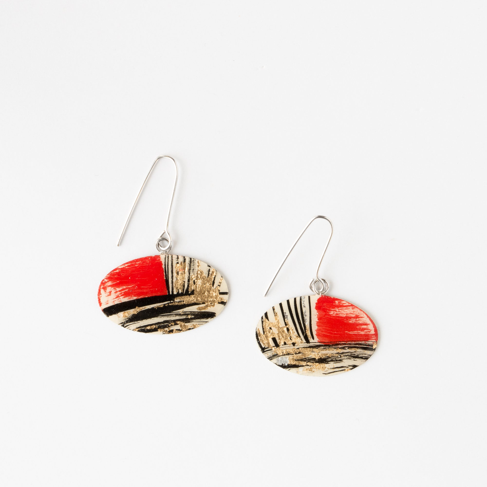 635-2 - Oval Contemporary Earrings Painted on Brass - Sold by Chic & Basta