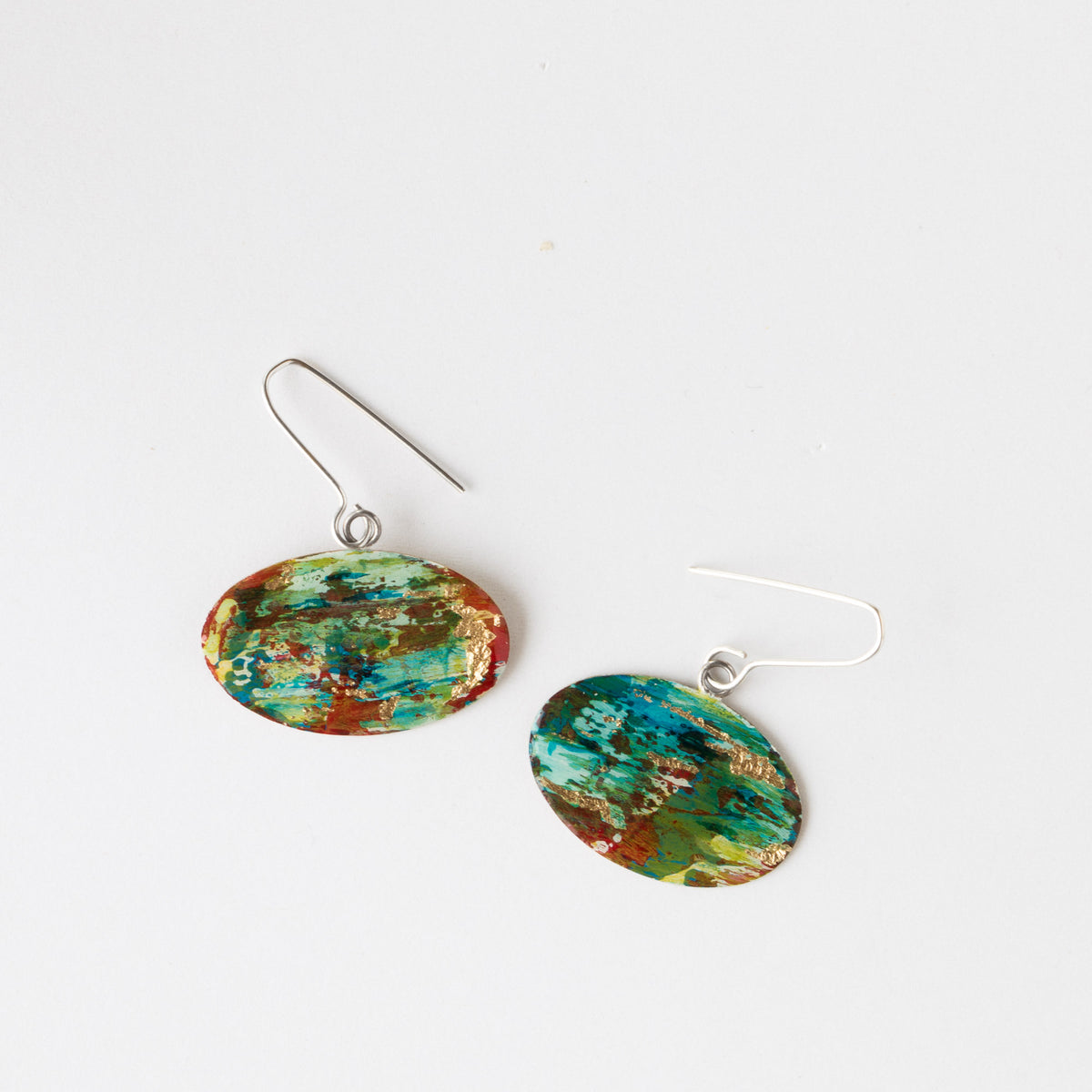 Top View - 728 - Handmade Oval Painted Brass Contemporary Earrings - Sold by Chic & Basta