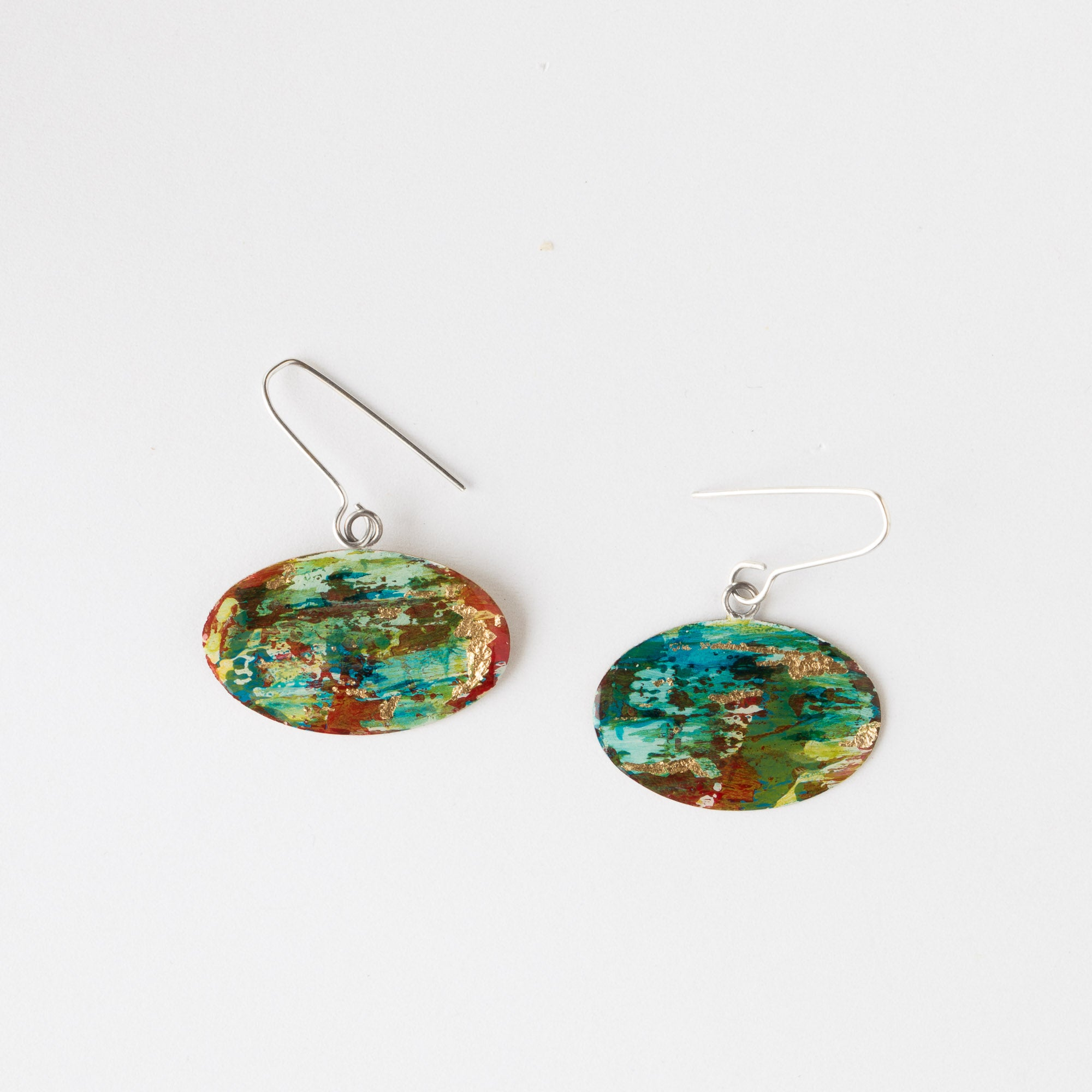 728 - Handmade Oval Painted Brass Contemporary Earrings - Sold by Chic & Basta