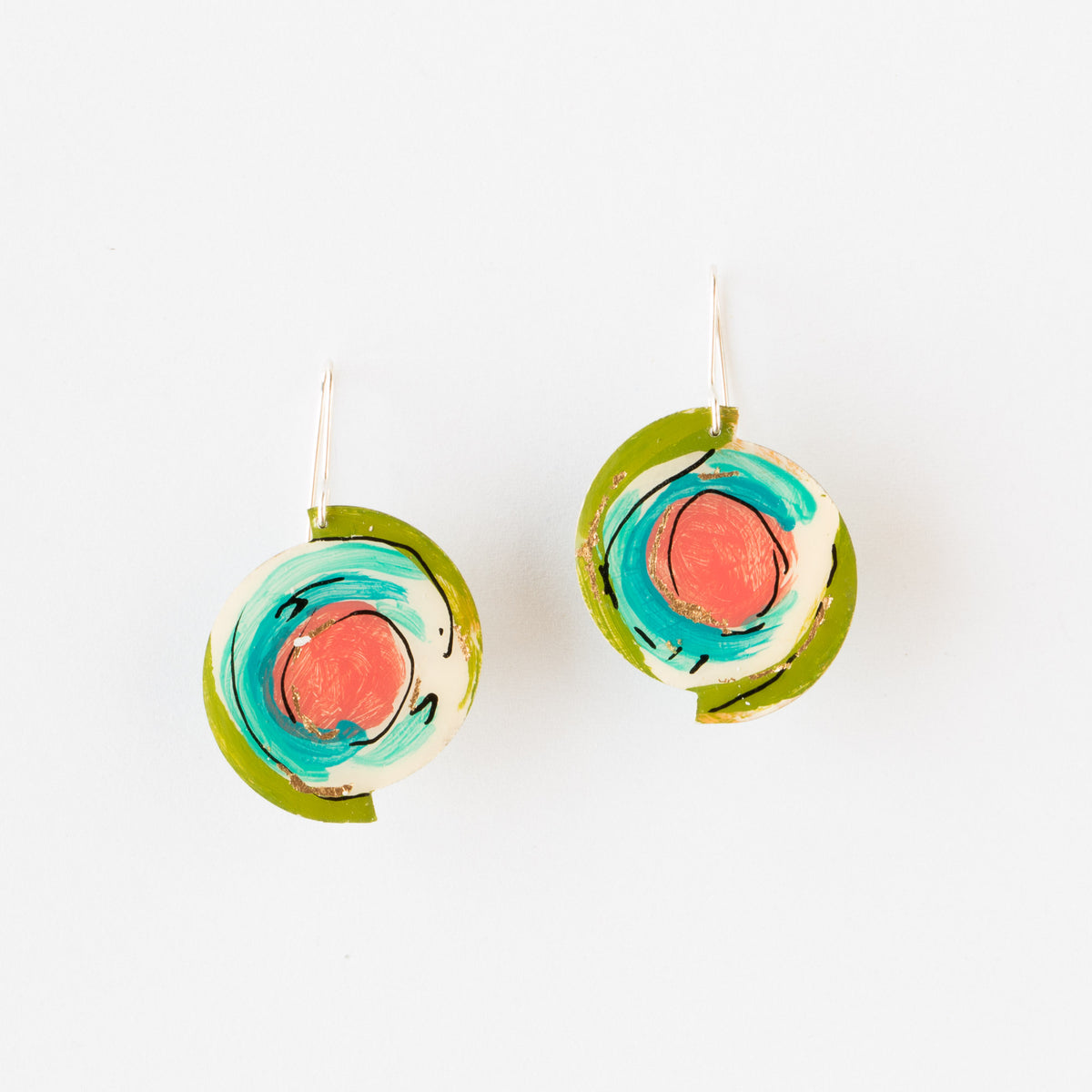 745 - Round Hand Painted Contemporary  Earrings - Sold by Chic & Basta