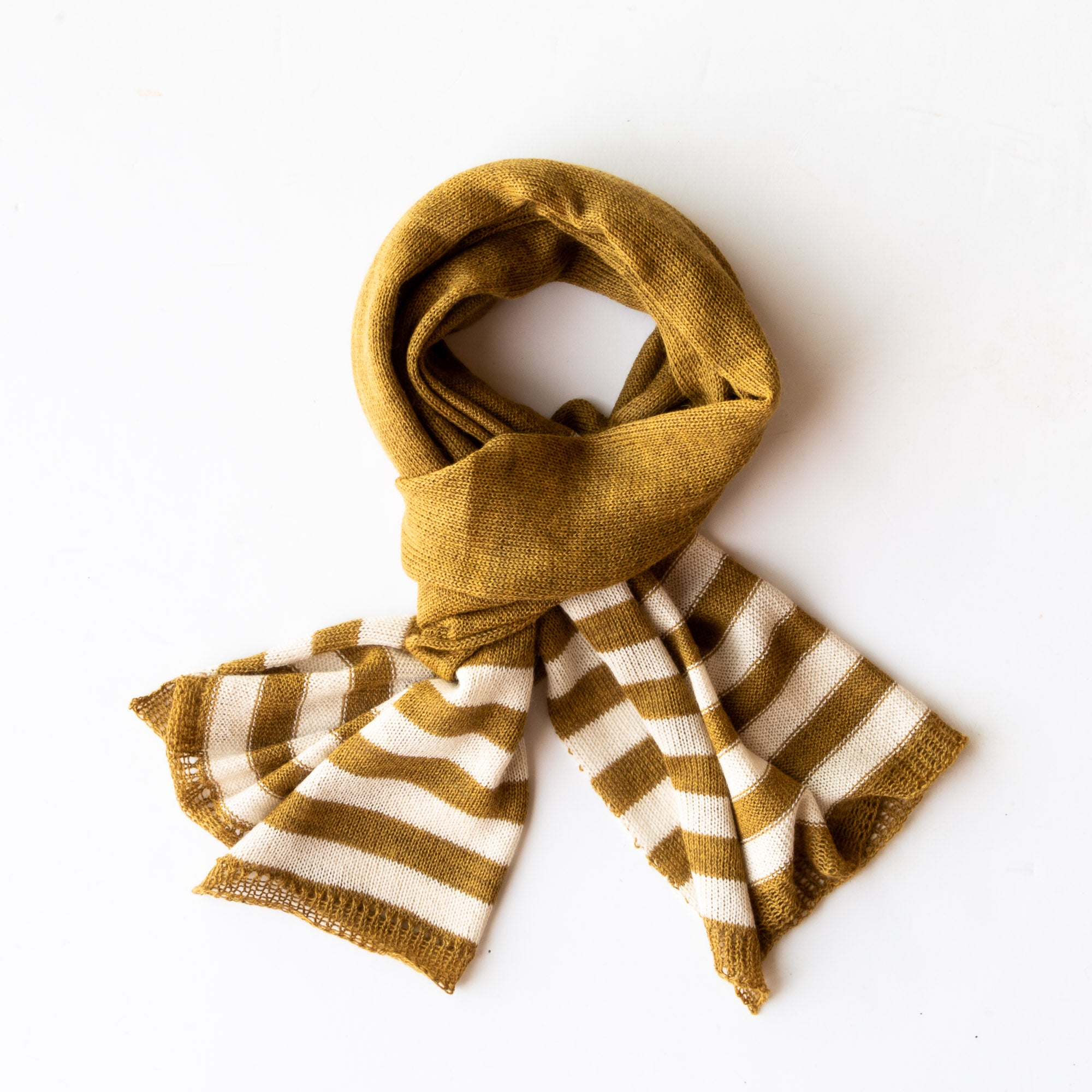 Top View - Mustard Handmade Unisex Alpaca Wool Fiber Striped Scarf / Shawl - Sold by Chic & Basta