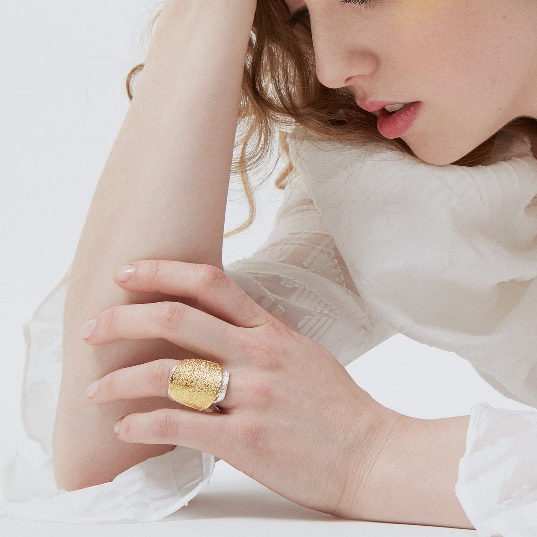 Acera - Adjustable Gold Plated Silver Ring -Handmade & Contemporary - Sold by Chic & Basta