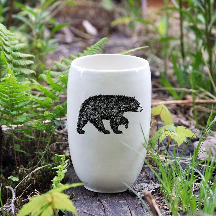 American Black Bear - Handmade Porcelain Beer Tumbler / Glass - Sold by Chic & Basta