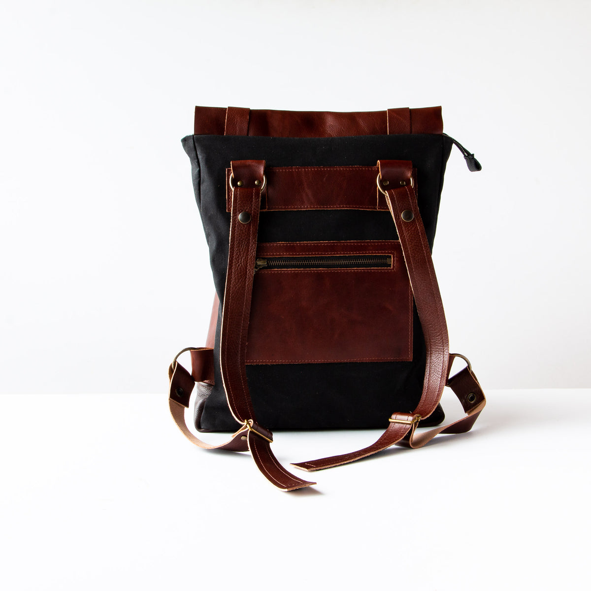 Back View - Andes - Brown Leather Handmade 15 Inch Laptop Backpack - Leather & Waxed Cotton - Sold by Chic & Basta