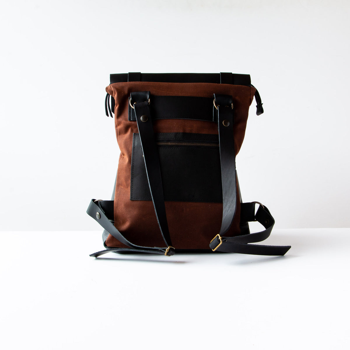 Rear View - Andes - Black Leather Handmade 15 Inch Laptop Backpack - Leather & Waxed Cotton - Sold by Chic & Basta