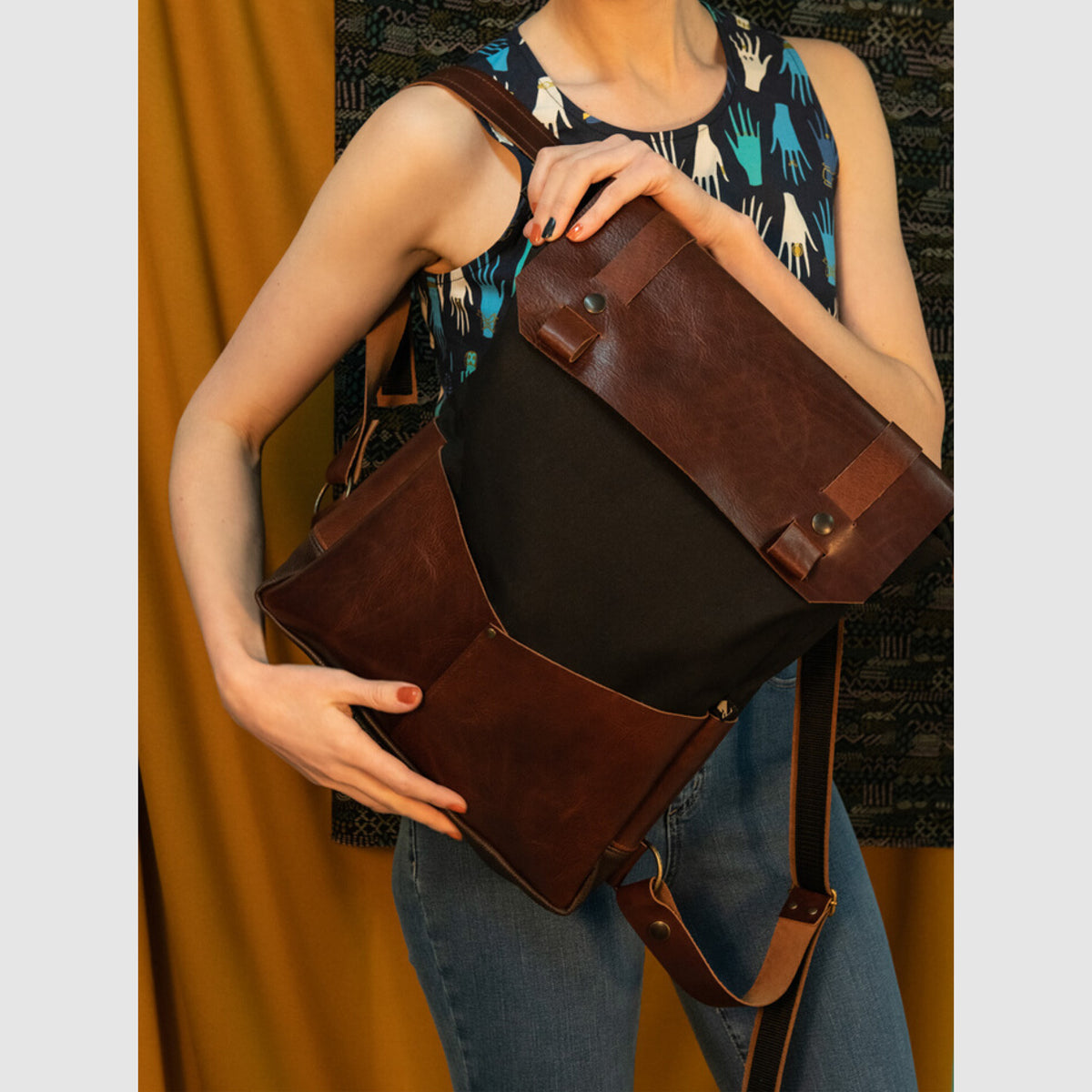Model Wearing a Andes - Handmade 15 Inch Laptop Backpack - Leather & Waxed Cotton - Sold by Chic & Basta