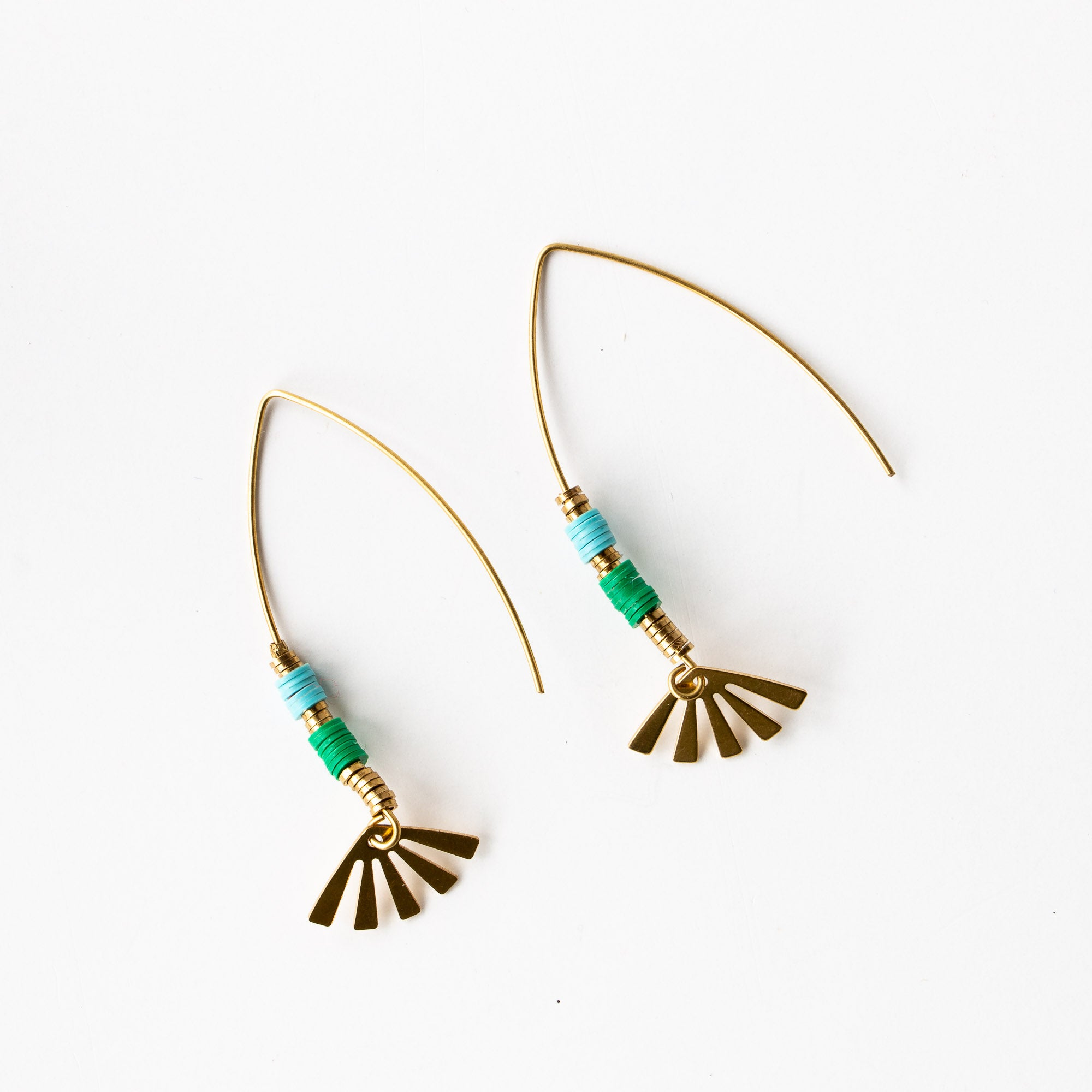 Andria Earrings - Handcrafted in Brass & African Vinyl - Sold by Chic & Basta