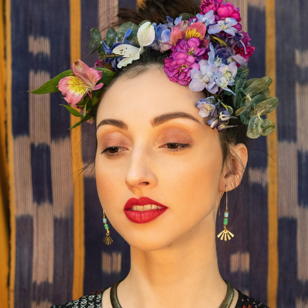 Model Wearing Andria Earrings - Handcrafted in Brass & African Vinyl - Sold by Chic & Basta