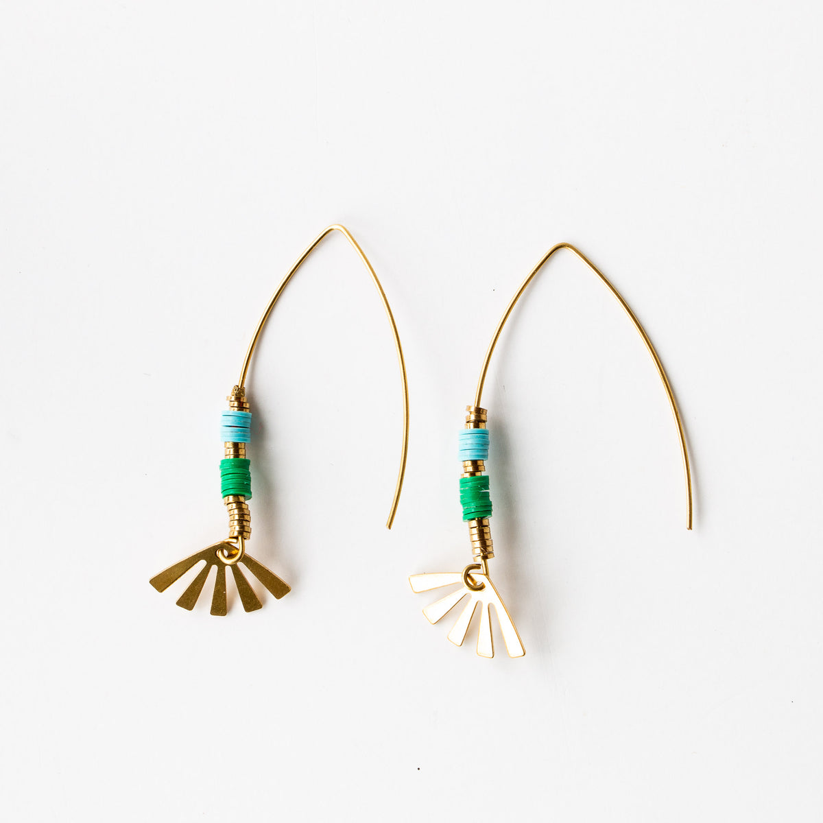 Andria Earrings - Handmade in Brass & African Vinyl - Sold by Chic & Basta