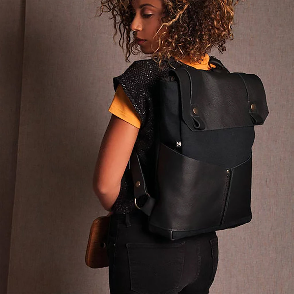 Black Leather & Cotton Backpack - Handmade in Montreal, Canada.