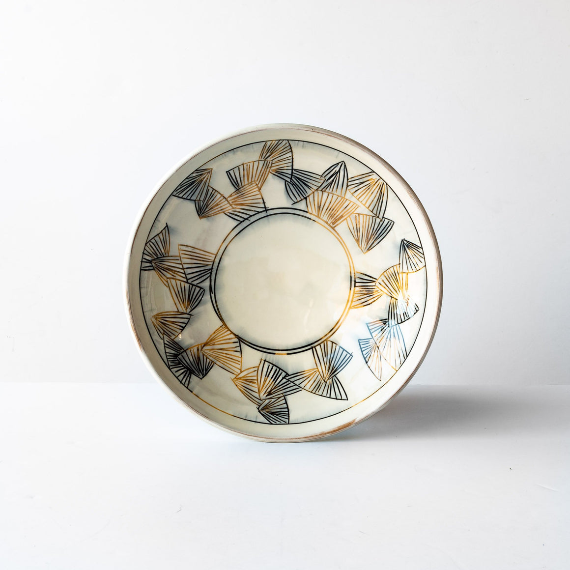 Side View With Flowers - Large Black & Gold Mishima Presentation Bowl - Handmade in Sandstone - Sold by Chic & Basta