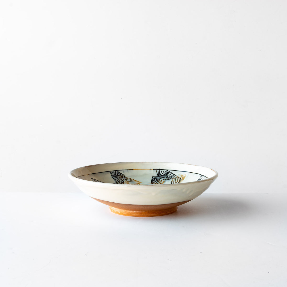 Large Black & Gold Mishima Presentation Bowl - Handmade in Sandstone - Sold by Chic & Basta
