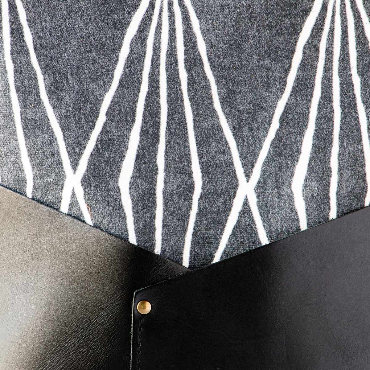 Fabric Detail - Handcrafted 13 Inch Laptop Backpack in Leather &  Charcoal Losange Fabric - Sold by Chic & Basta