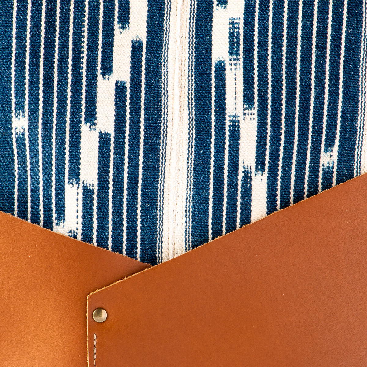 Fabric Detail - Handcrafted 13 Inch Laptop Backpack in Leather &  Ivorian Indigo Fabric - Sold by Chic & Basta