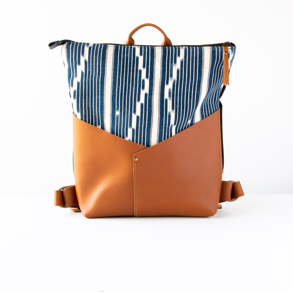 Handcrafted 13 Inch Laptop Backpack in Leather &  Ivorian Indigo Fabric - Sold by Chic & Basta