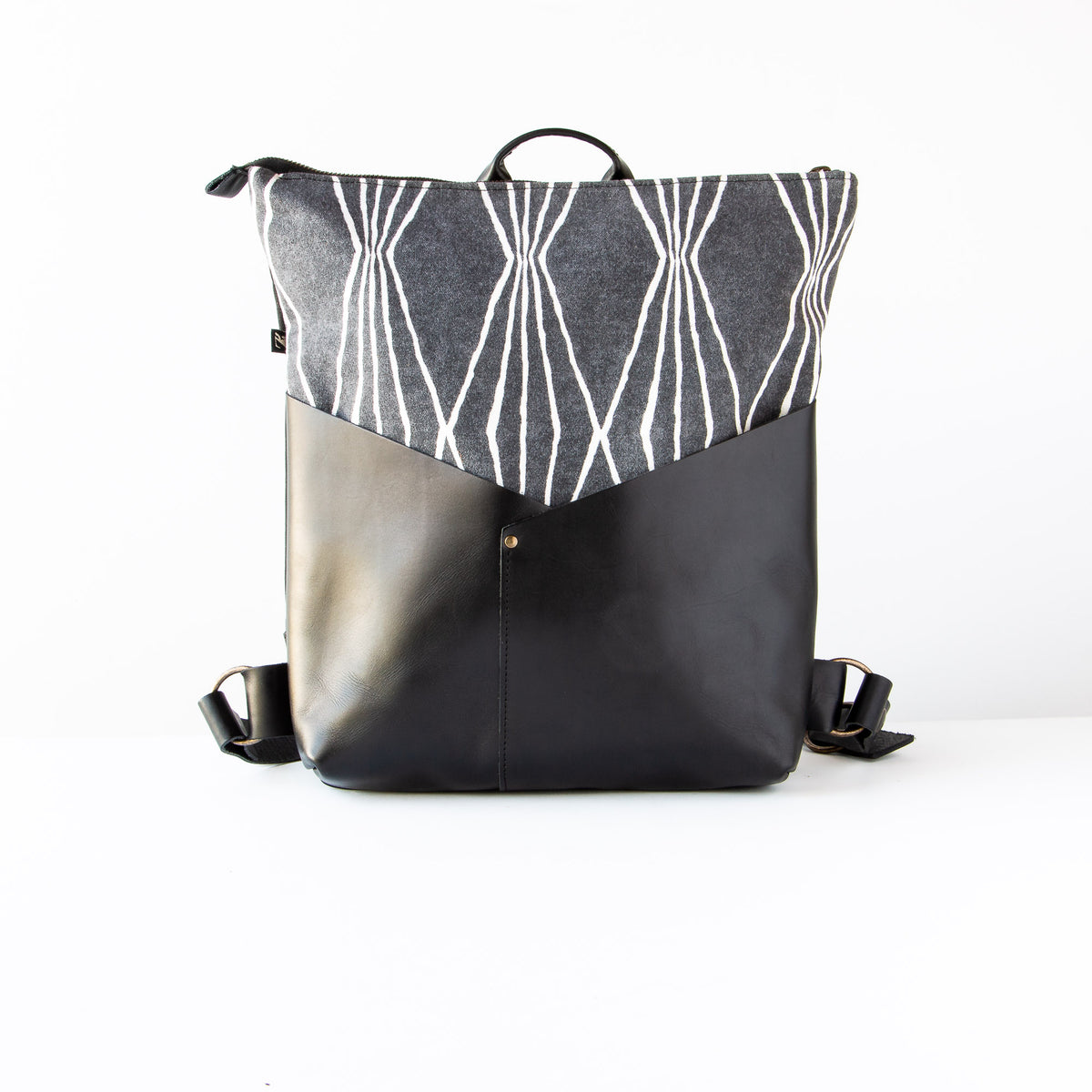 Handcrafted 13 Inch Laptop Backpack in Leather &  Charcoal Losange Fabric - Sold by Chic & Basta