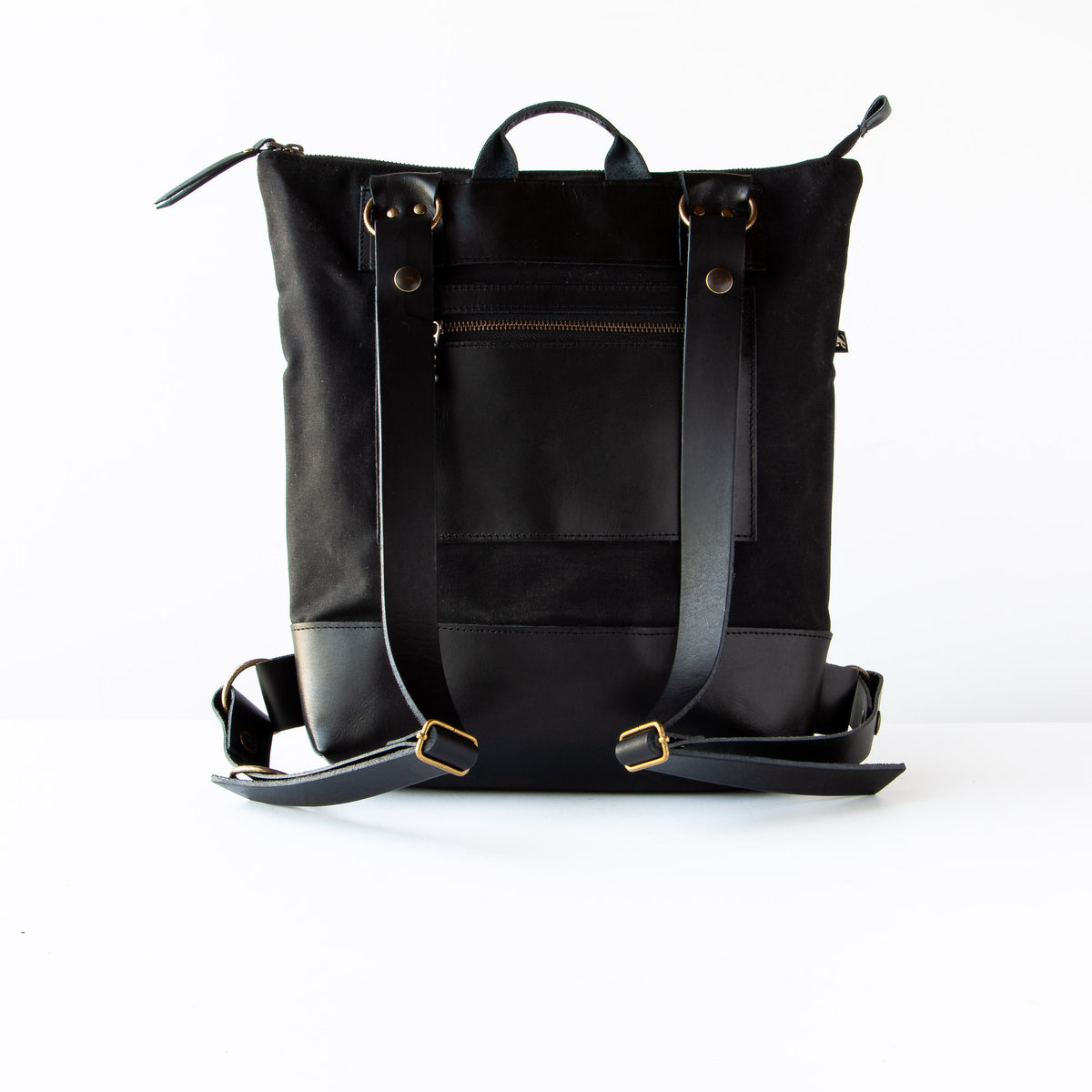 Back View - Handcrafted 13 Inch Laptop Backpack in Leather &  Charcoal Losange Fabric - Sold by Chic & Basta