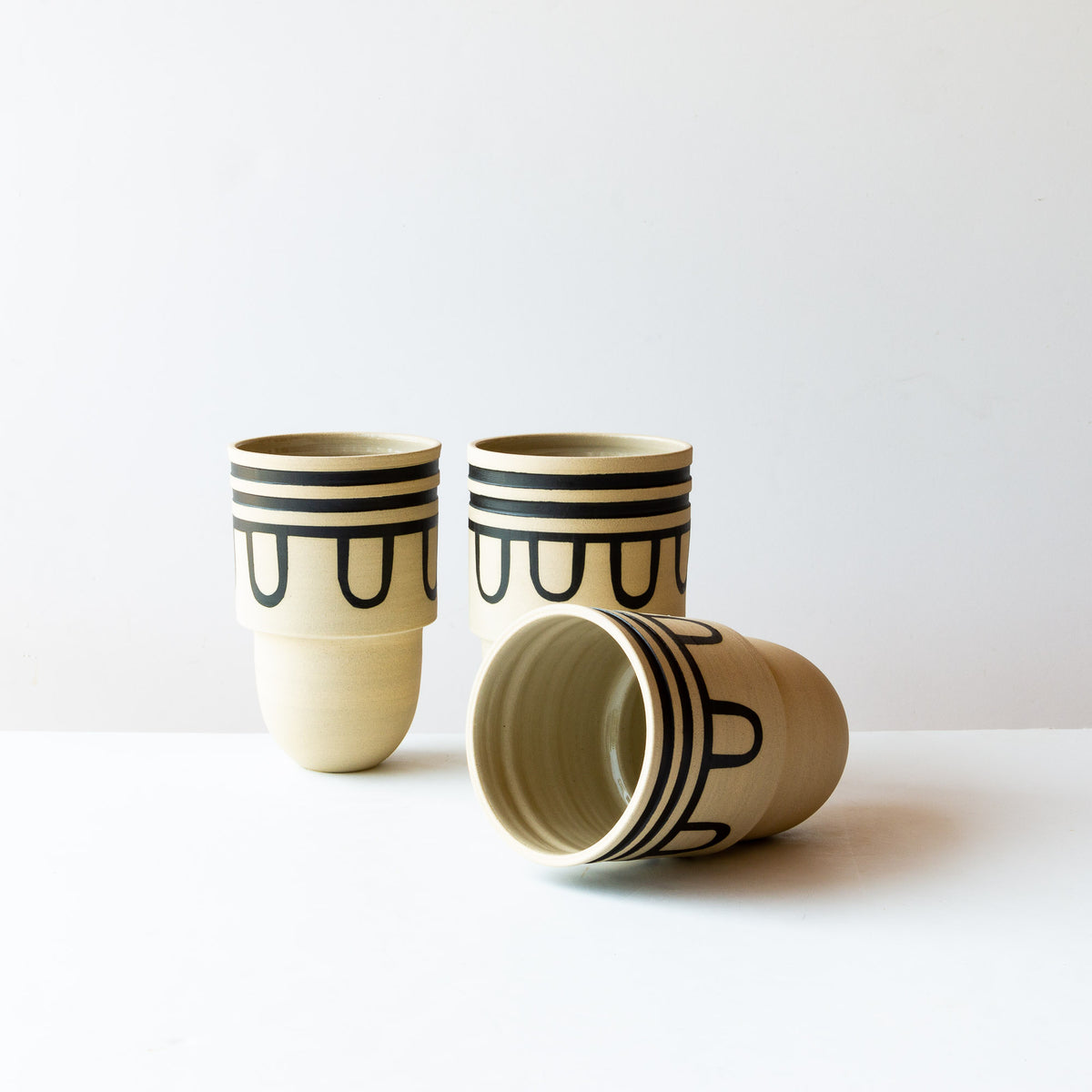 Auguste #4 - Three Handmade & Hand Painted Decorative Stoneware Vessels - Sold by Chic & Basta