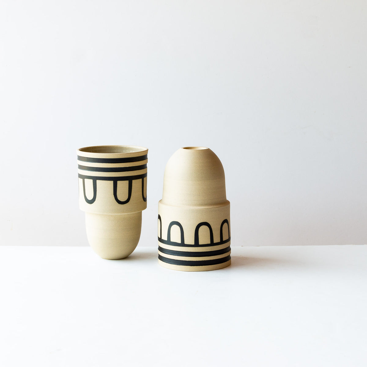 Auguste #4 - Two Handmade & Hand Painted Decorative Stoneware Pots - Sold by Chic & Basta