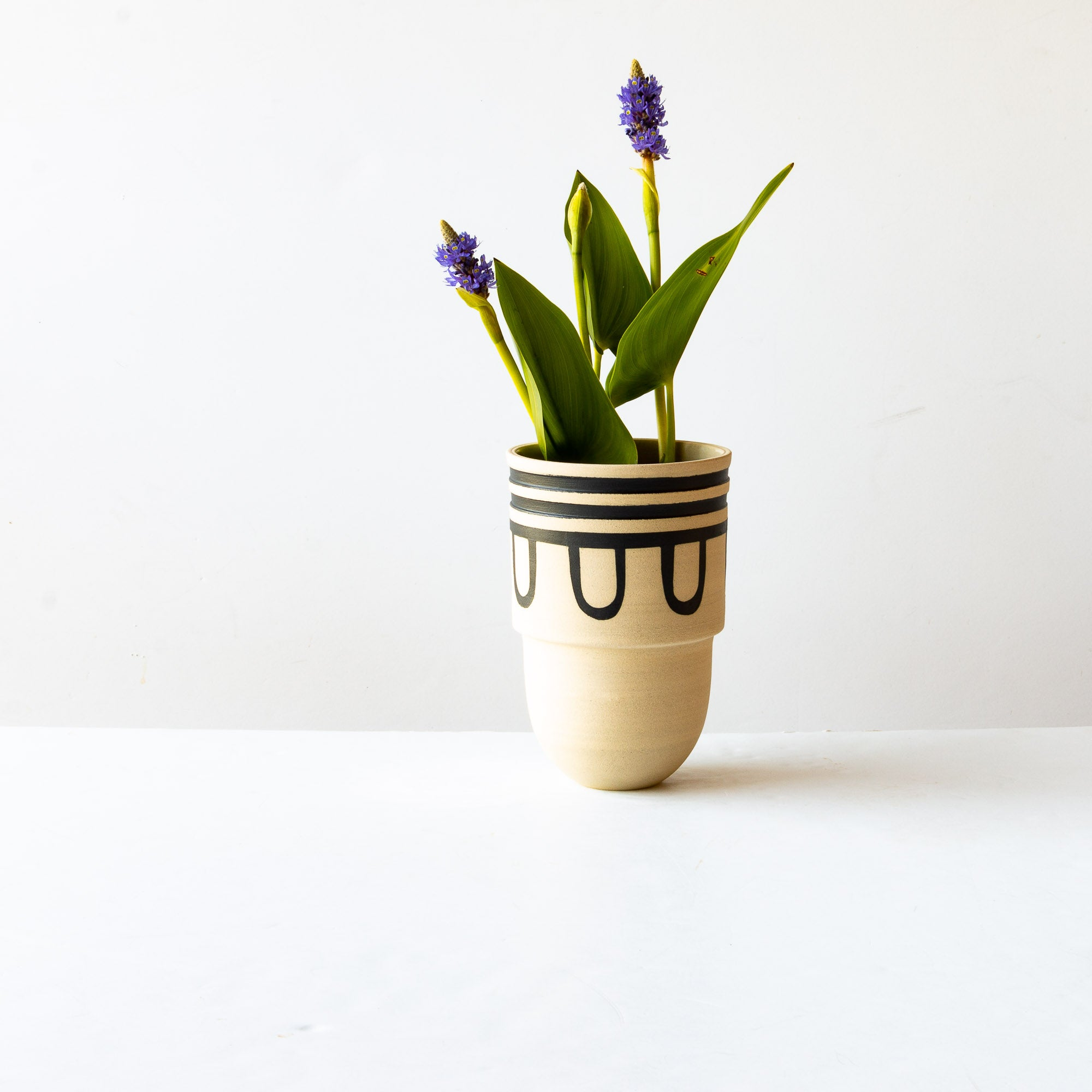 Flower in a Handmade & Hand Painted Decorative Stoneware Vessel - Sold by Chic & Basta