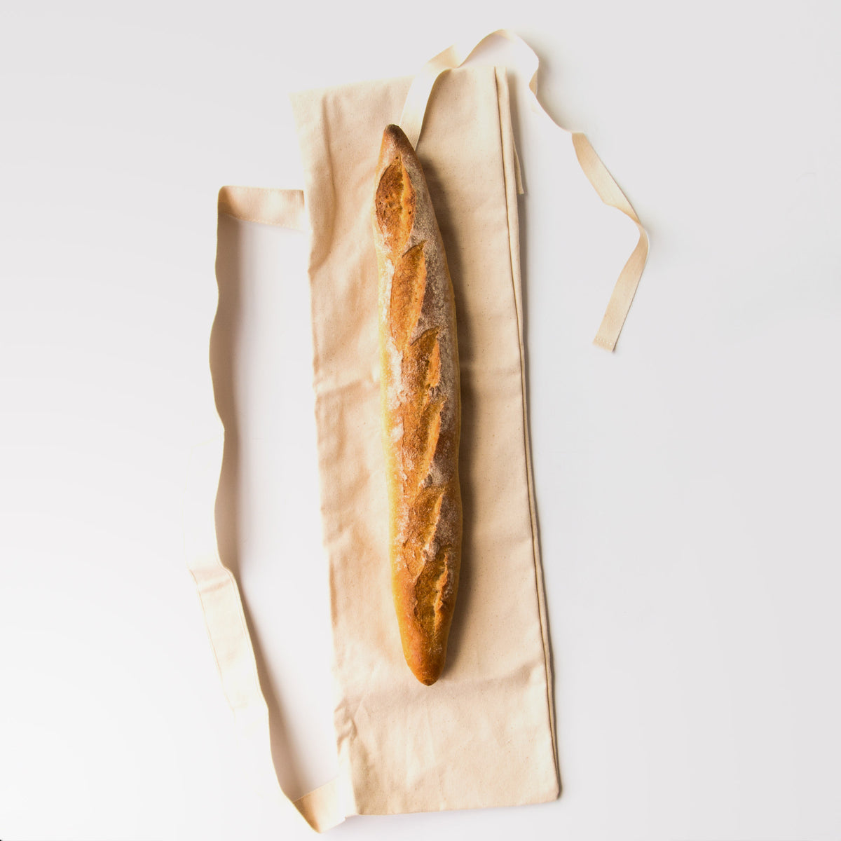 Top View - Reusable Baguette Bag - Zero Waste 100% Cotton Bread Bag - Sold by Chic & Basta
