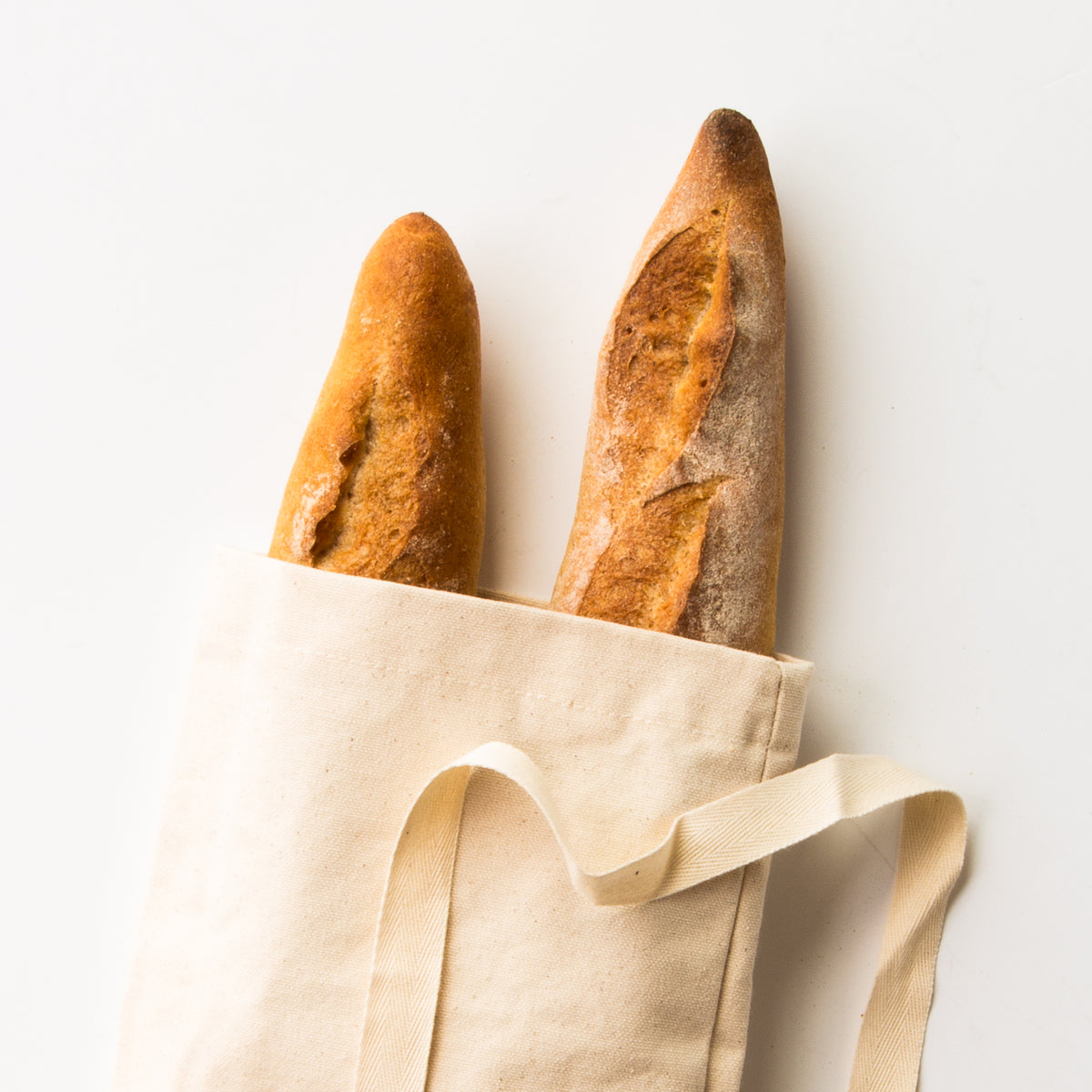 Close Up View - Reusable Baguette Bag - Zero Waste 100% Cotton Bread Bag - Sold by Chic & Basta