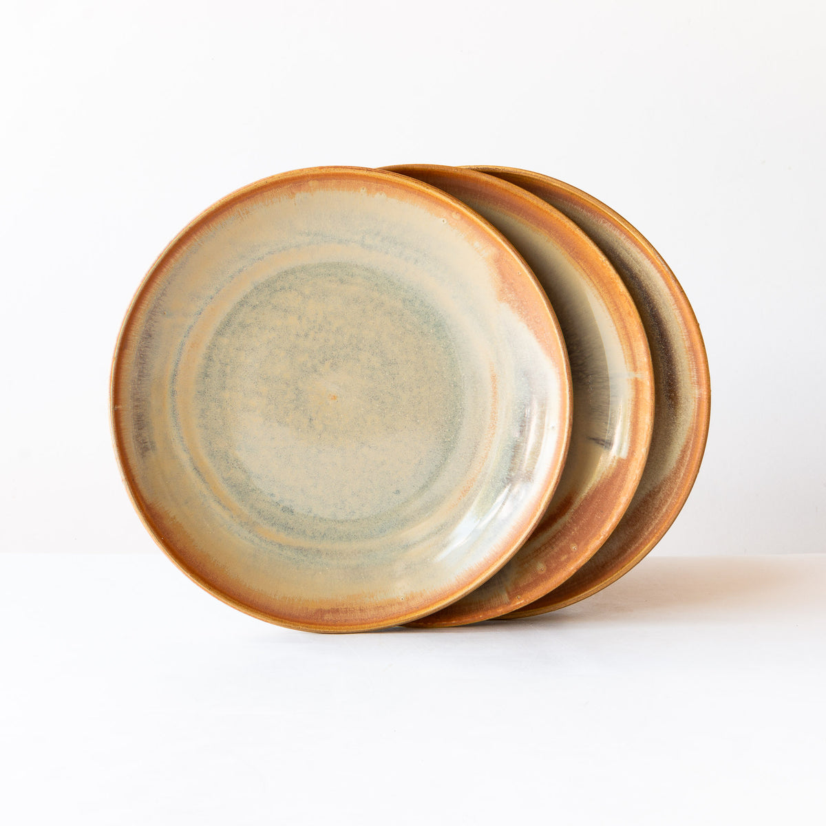 Three Handmade Stoneware Dinner Plates - Barley Corn Colour - Sold by Chic & Basta