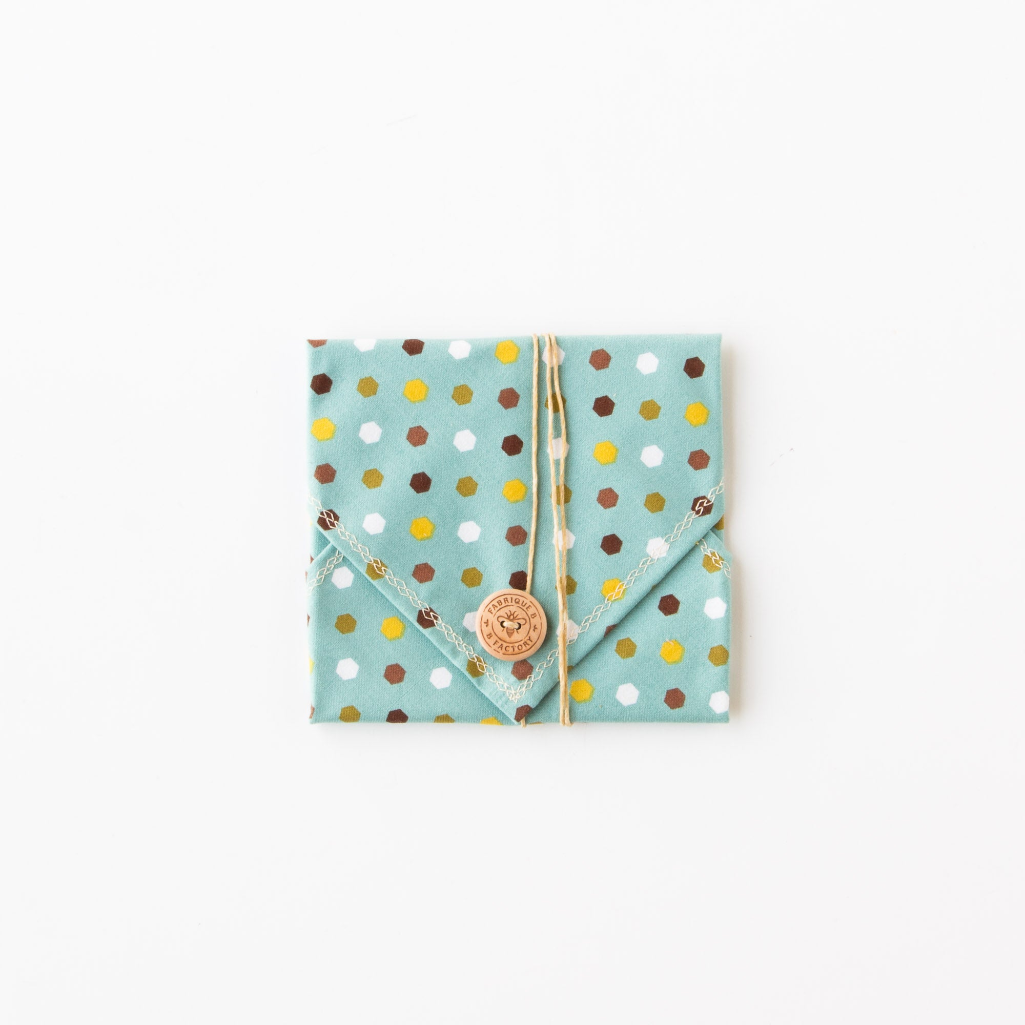Blue & Hexagons - Bees Wax Sandwich Wrap - Eco Friendly & Zero Waste - Sold by Chic & Basta