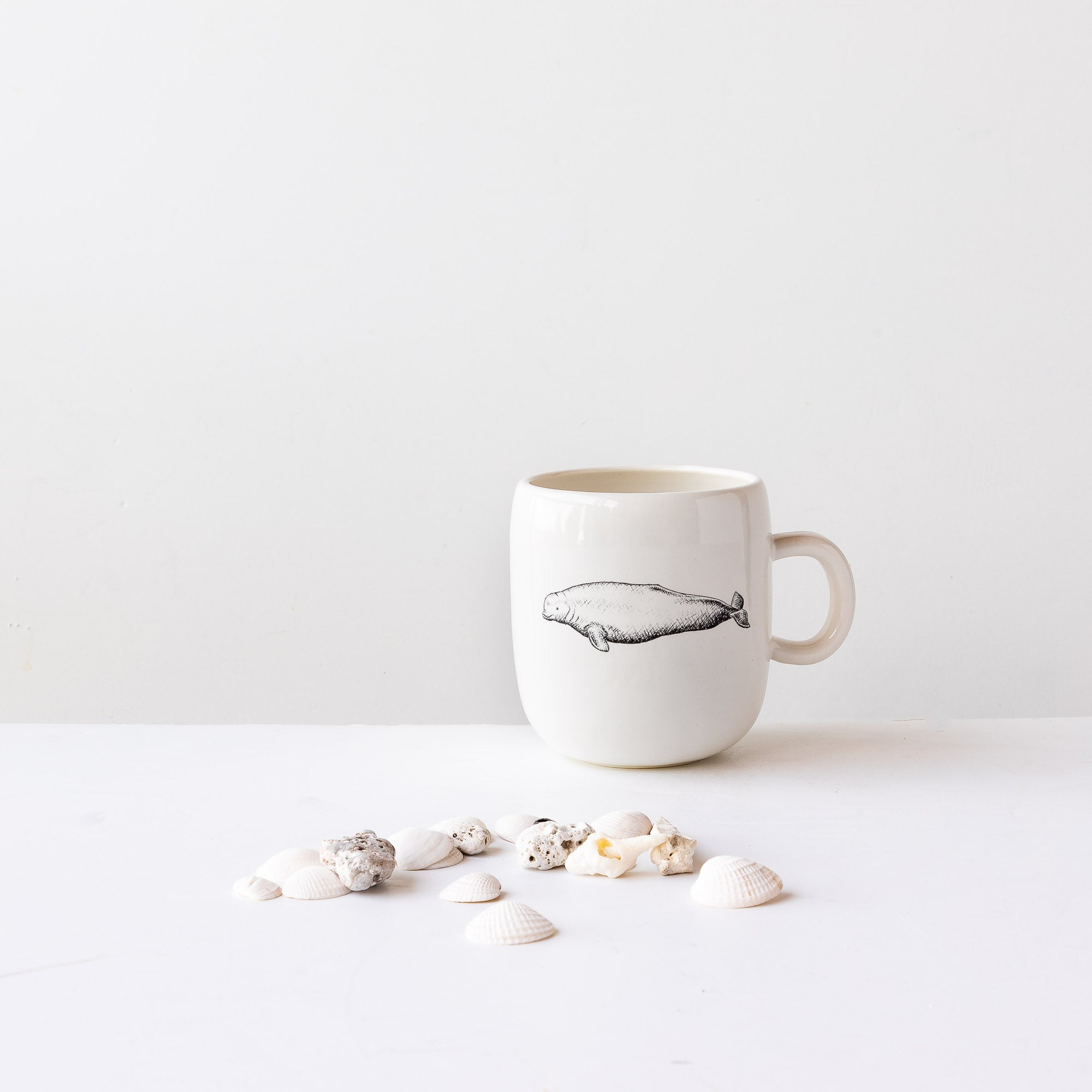 Beluga Whale - Handmade Porcelain Coffee Mug / Cup - Sold by Chic & Basta