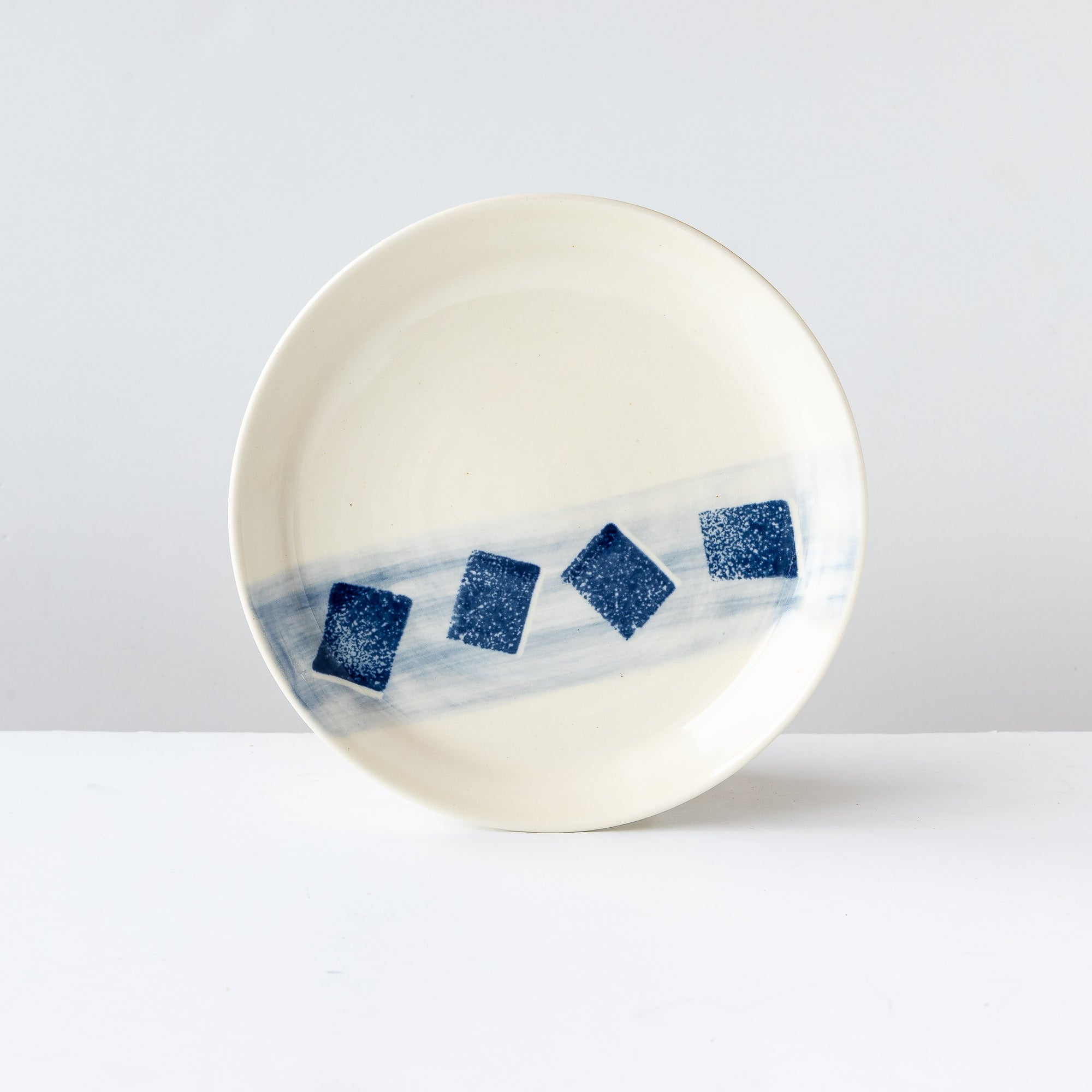Large Hand Thrown White & Blue Porcelain Plate - Sold by Chic & Basta