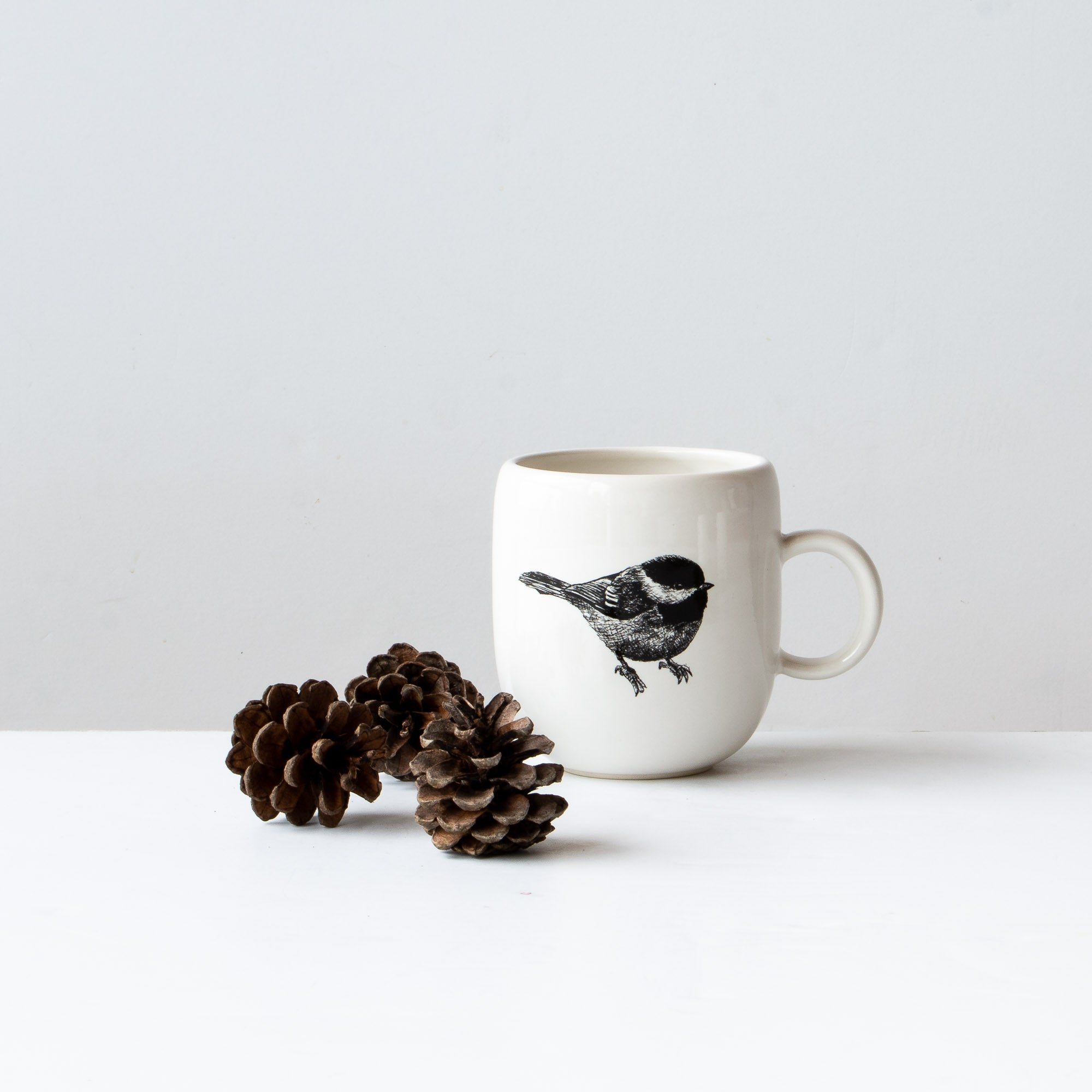 Black-capped Chickadee - Handmade Porcelain Coffee Mug / Cup - Sold by Chic & Basta