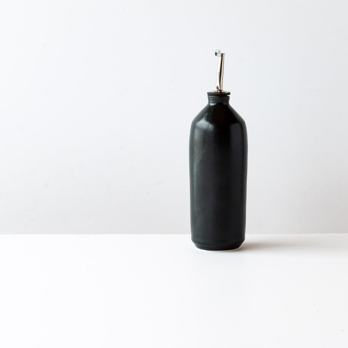 Handcrafted Black Glazed Porcelain Oil Bottle - Sold by Chic & Basta