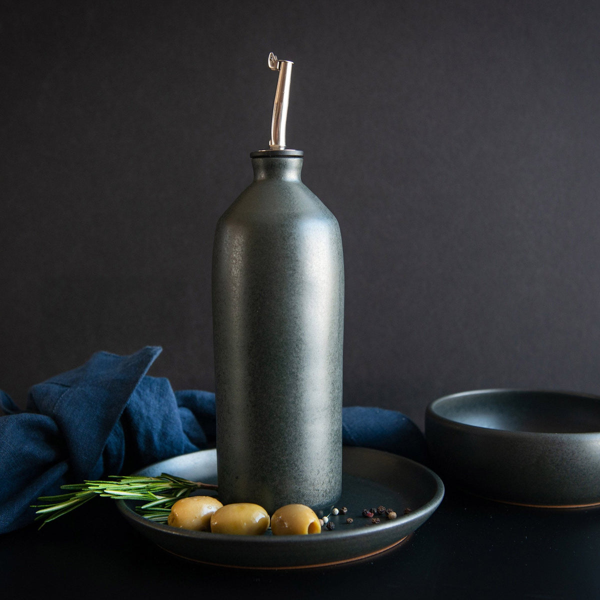 Lookbook - Handmade Black Glazed Porcelain Oil Bottle - Sold by Chic & Basta