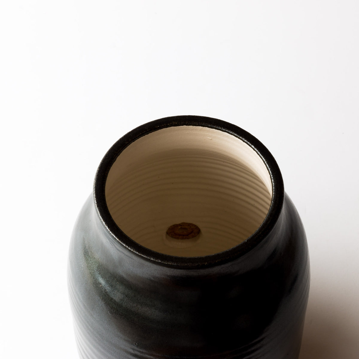 Interior of Handmade Kombucha Jar / Vinegar Pot - 3 liters - In Black Ceramic - Made in Canada - Sold by Chic & Basta