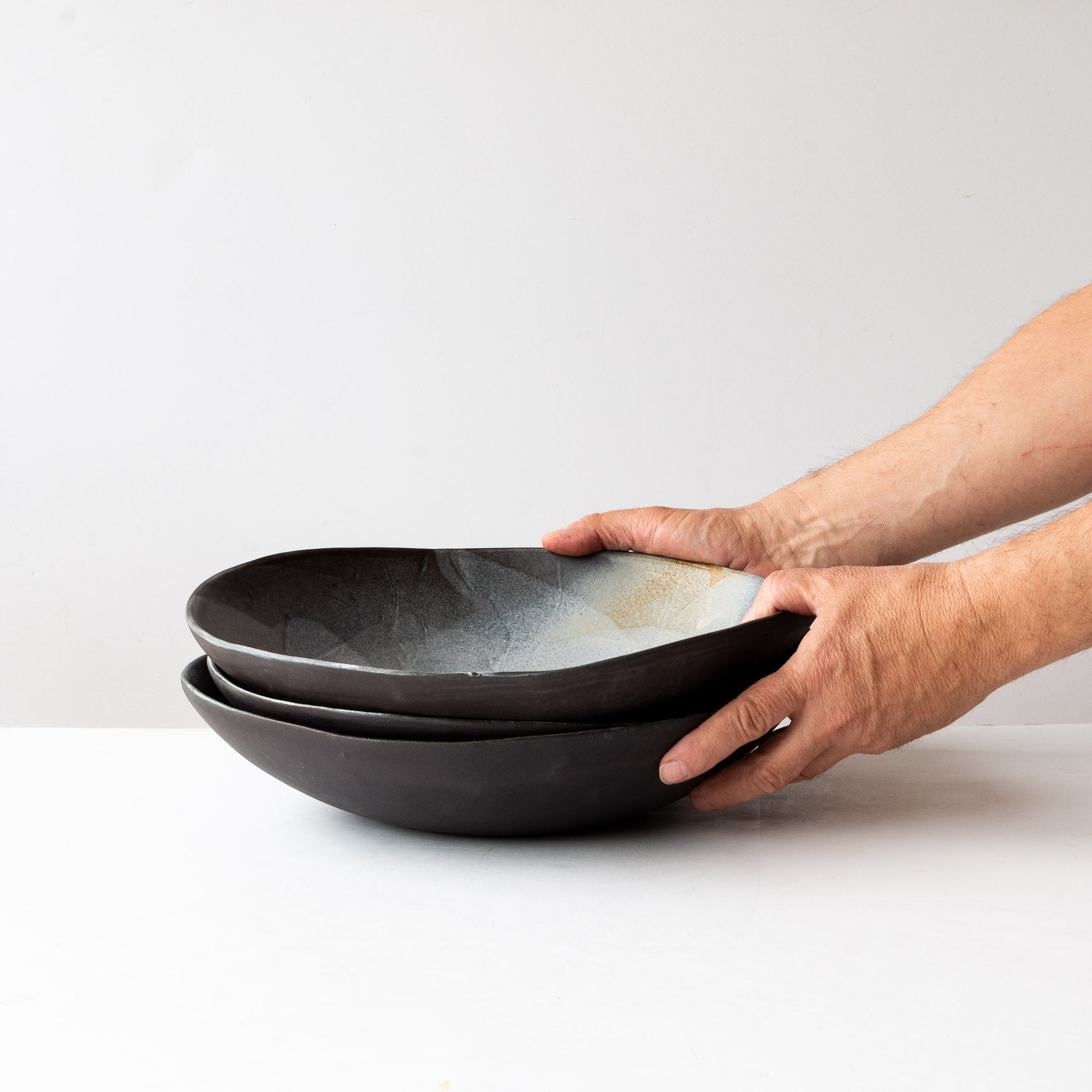 Three Handmade Black Stoneware Saladiers / Salad Bowls - Sold by Chic & Basta