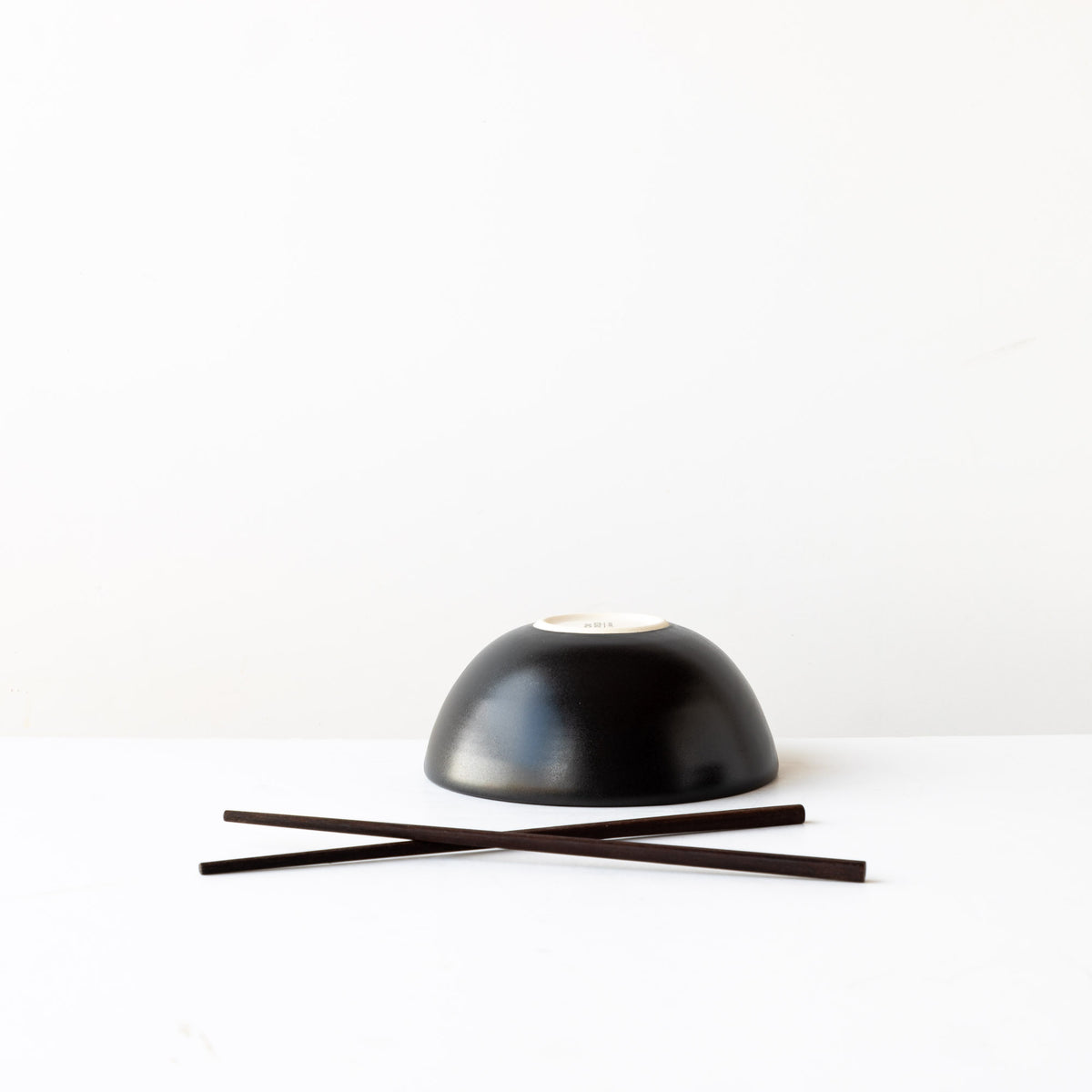 Upside Down Small Handmade Poke Bowl in Black Satin Glazed Porcelain - Sold by Chic & Basta