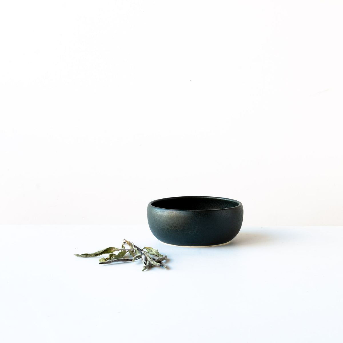 Black Satin Glazed Porcelain Small Flat Bowl - Sold by Chic & Basta