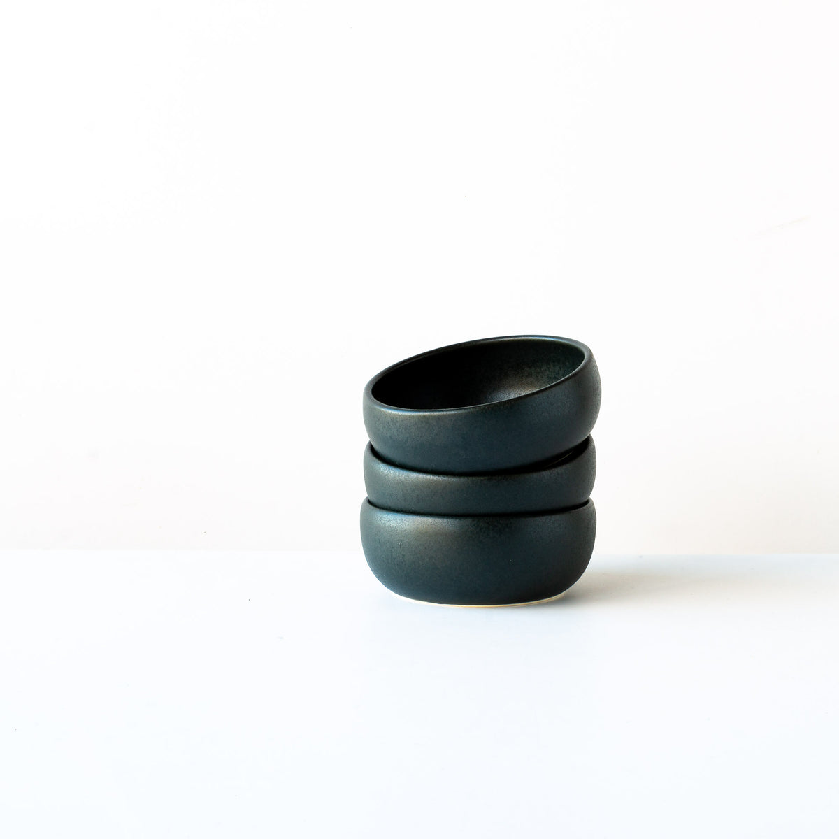 Three Black Satin Glazed Porcelain Small Flat Bowls - Sold by Chic & Basta