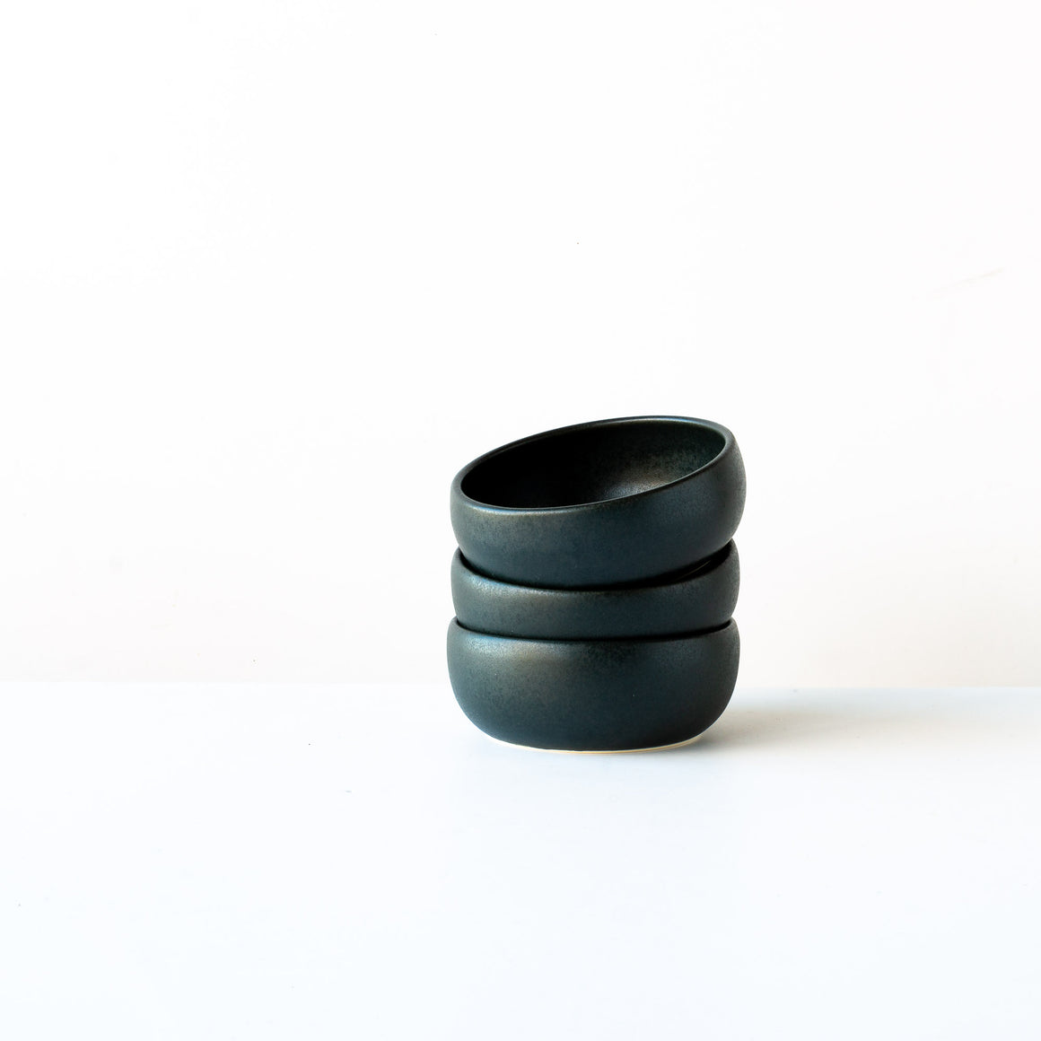 Black Satin Glaze Hand Thrown Porcelain Small Flat Bowl - Sold by Chic & Basta