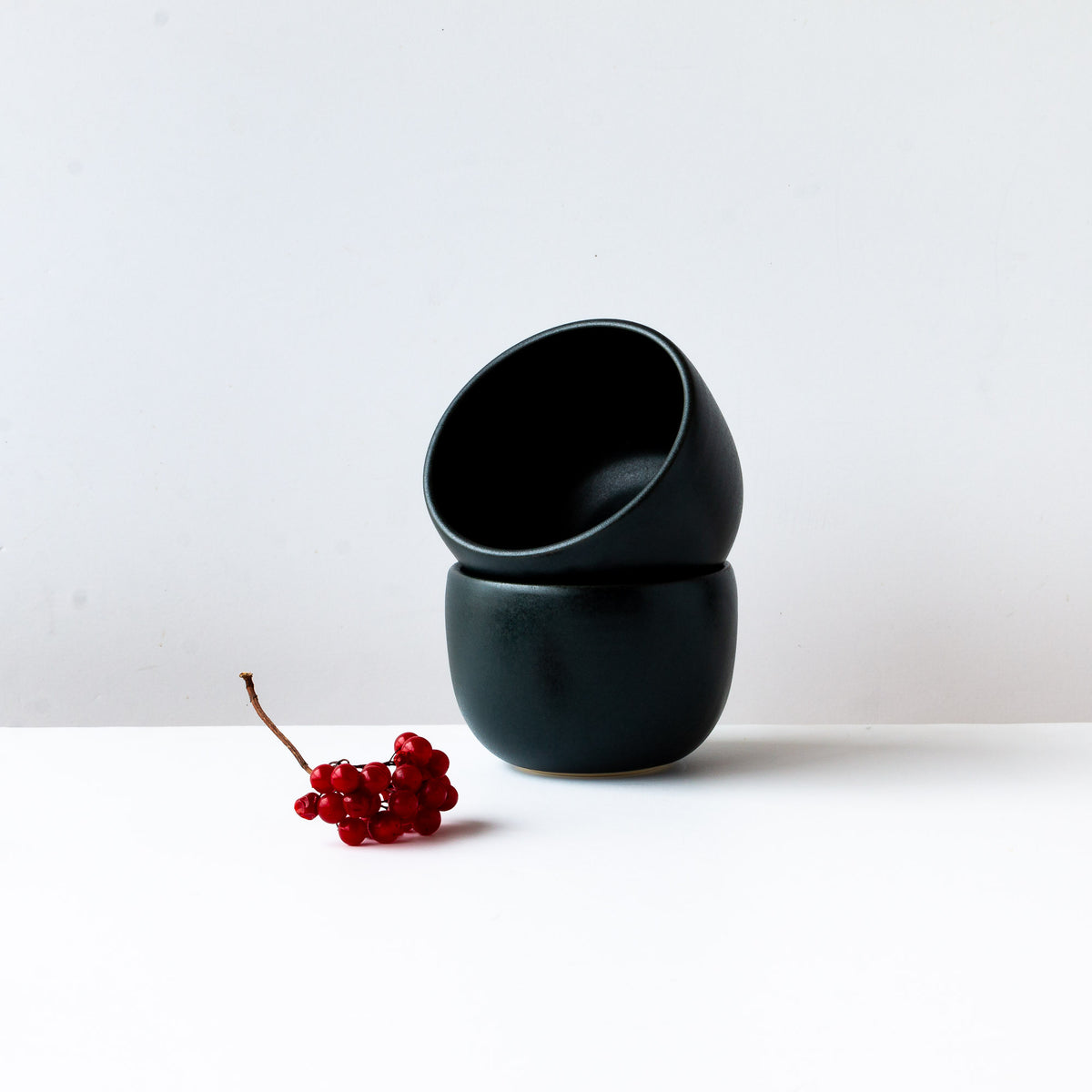 Two Black Satin Glazed Porcelain Soup Bowls - Sold by Chic & Basta