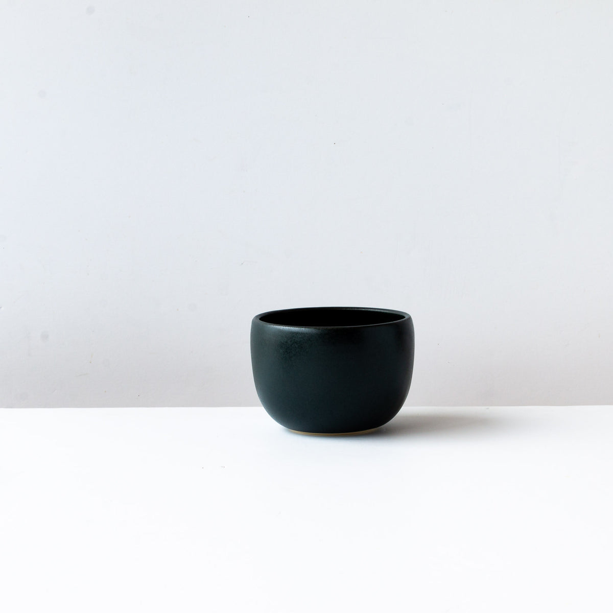 Front View - Black Satin Glazed Porcelain Soup Bowl - Sold by Chic & Basta