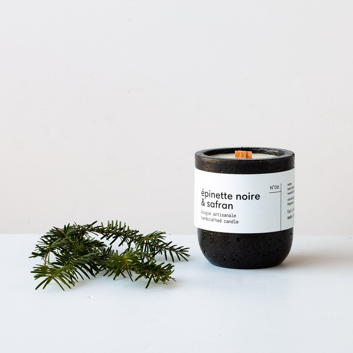 Black Spruce & Saffron Candle - With Crackling Wood Wick - Sold by Chic & Basta