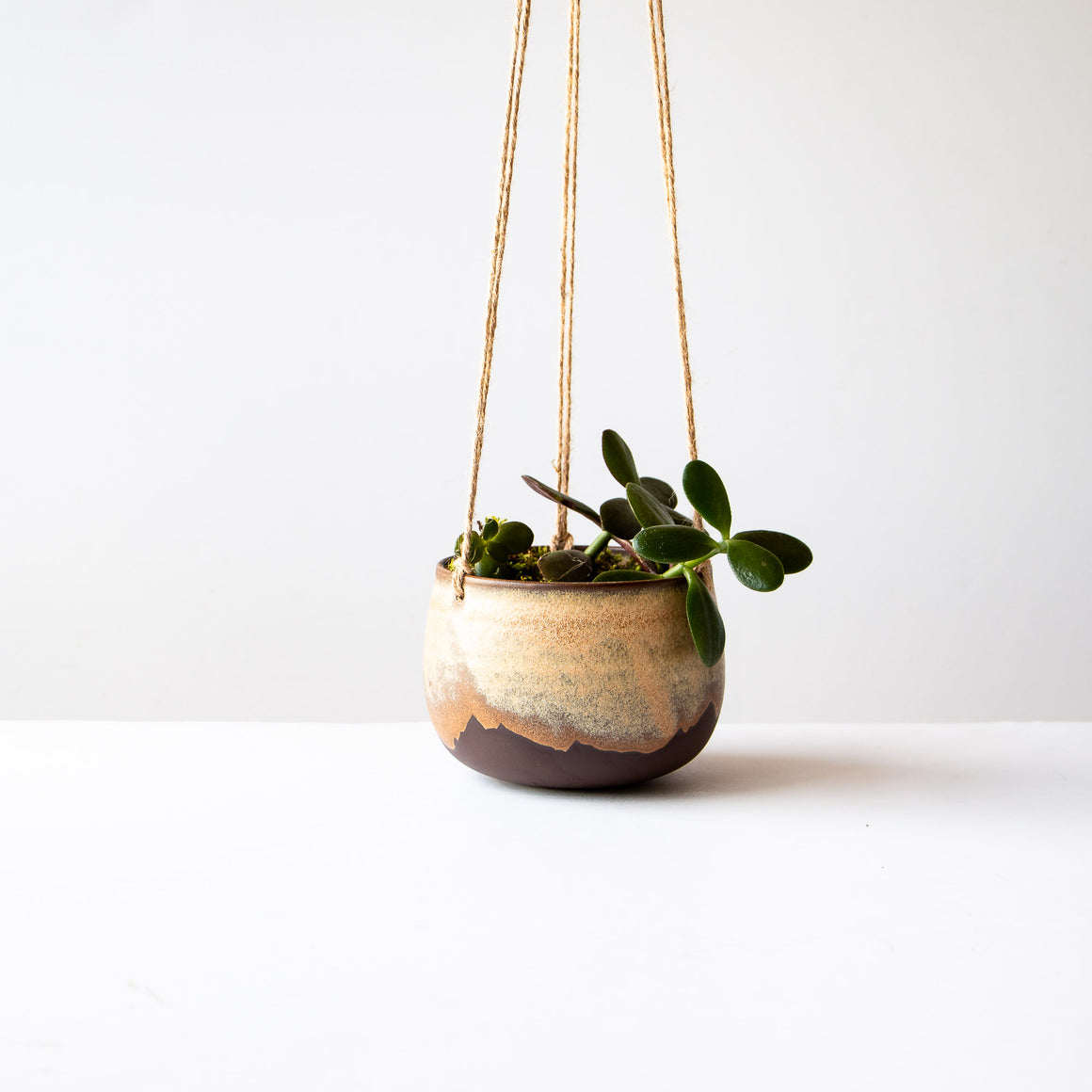 Black Stoneware Ceramic Hanging Planter