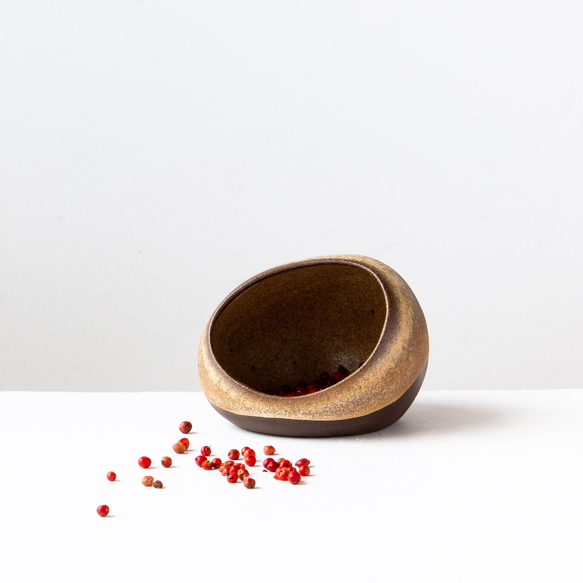 Handmade Salt Cellar in Black Sandstone Ceramic