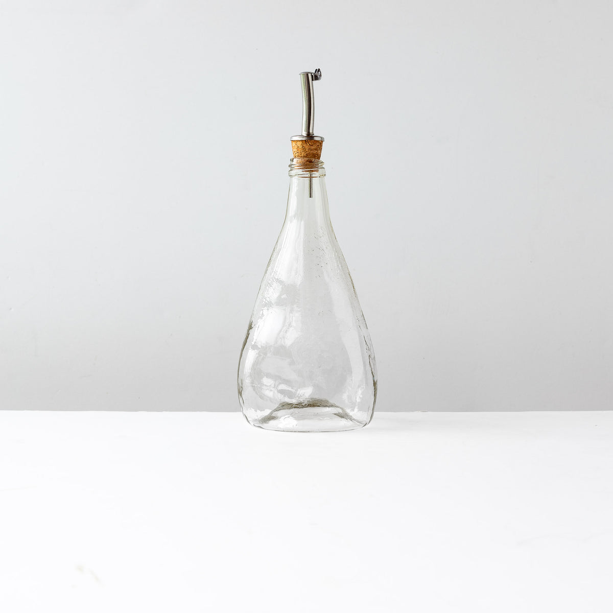 front View - Crackled Texture - Hand Blown Glass Oil Dispenser Bottle - Sold by Chic & Basta