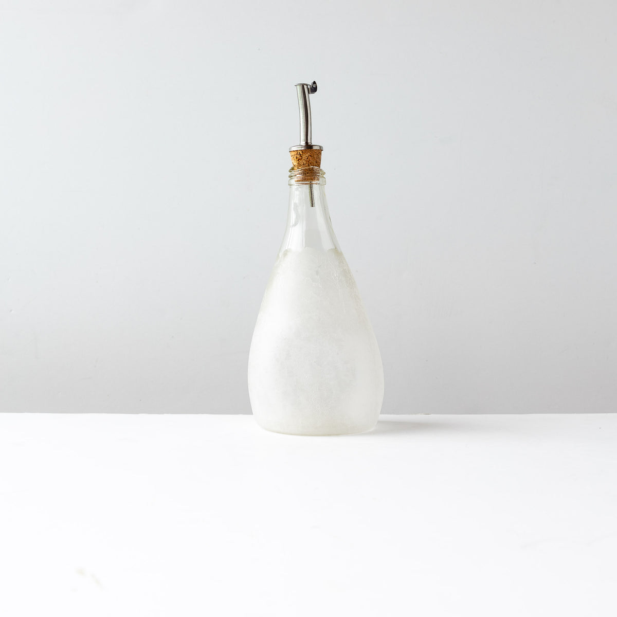 Front View - Latté Texture - Hand Blown Glass Oil Dispenser Bottle - Sold by Chic & Basta