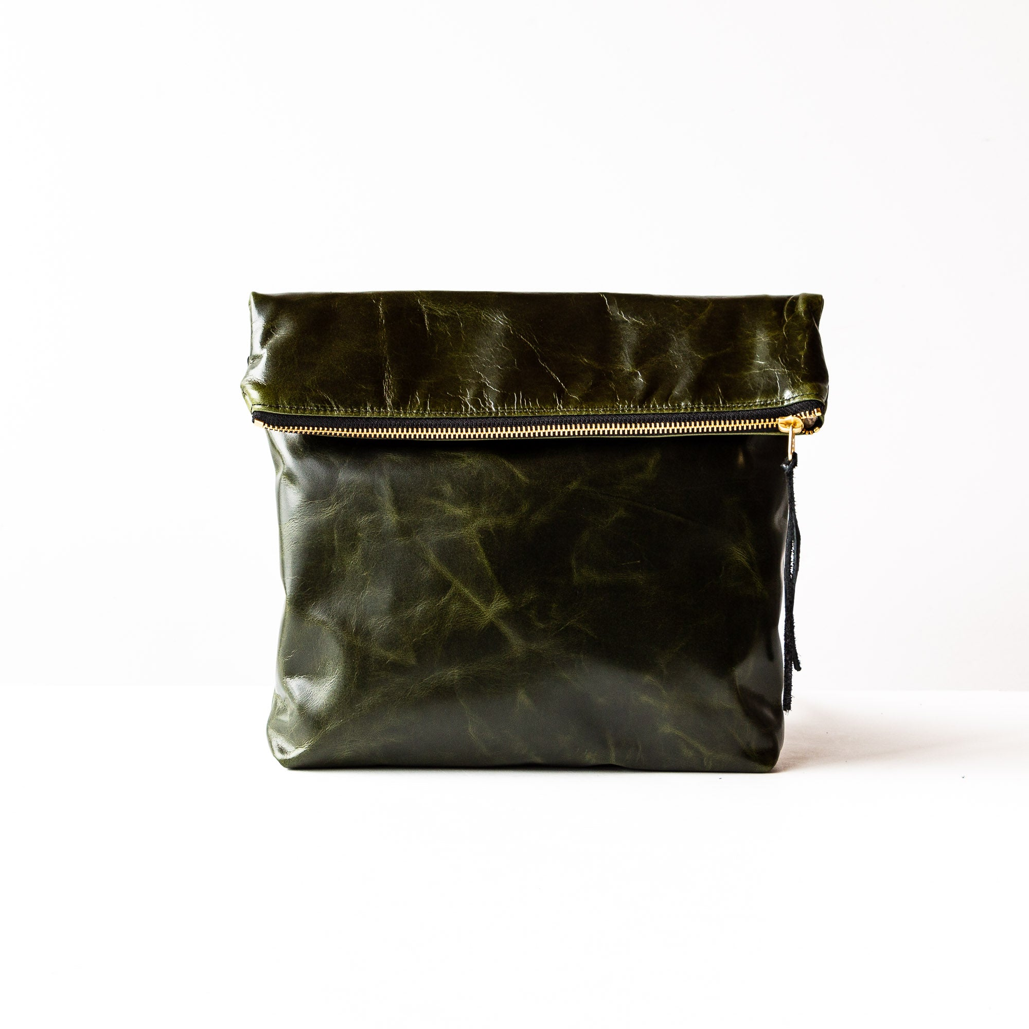 Bordeaux - Medium Leather Clutch Bag - Cross Body Strap Bag in Forest Green