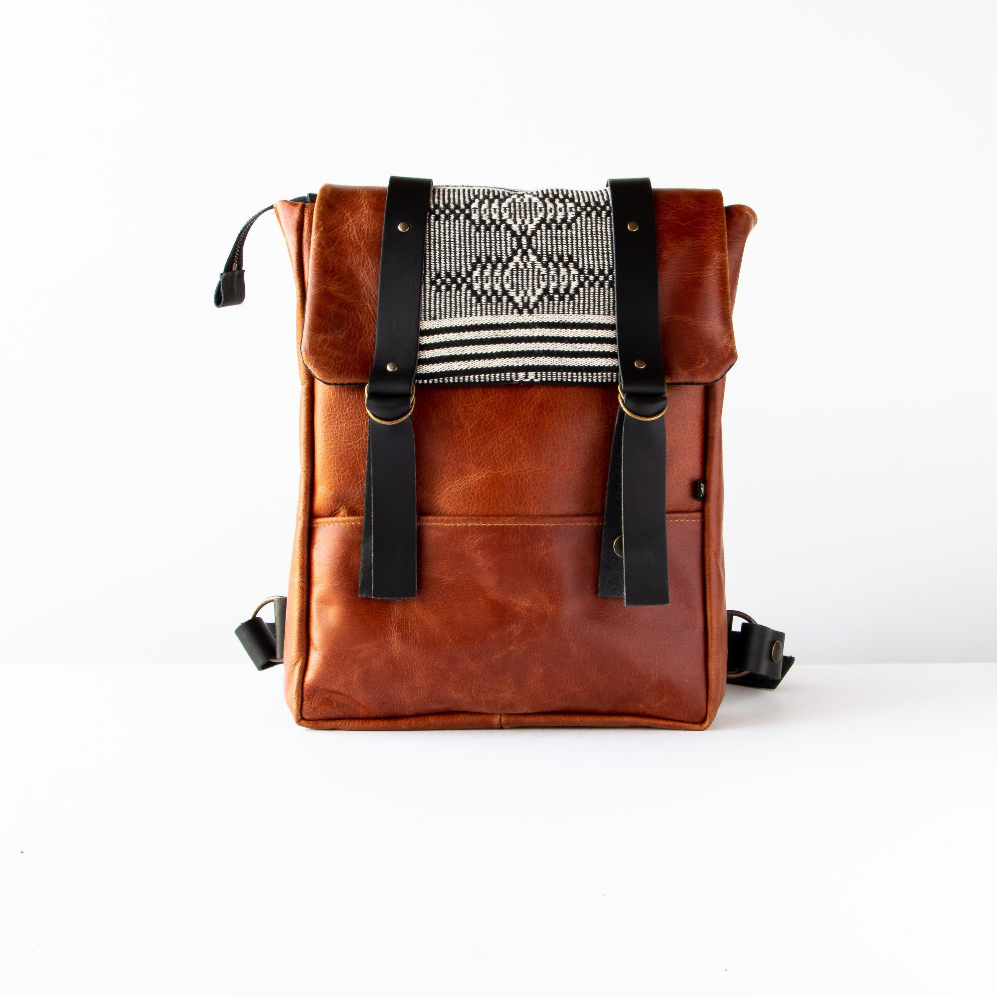 Cairo - Columbia - Backpack in Recycled & Vegetable Tanned Leather & Fabric - Sold by Chic & Basta