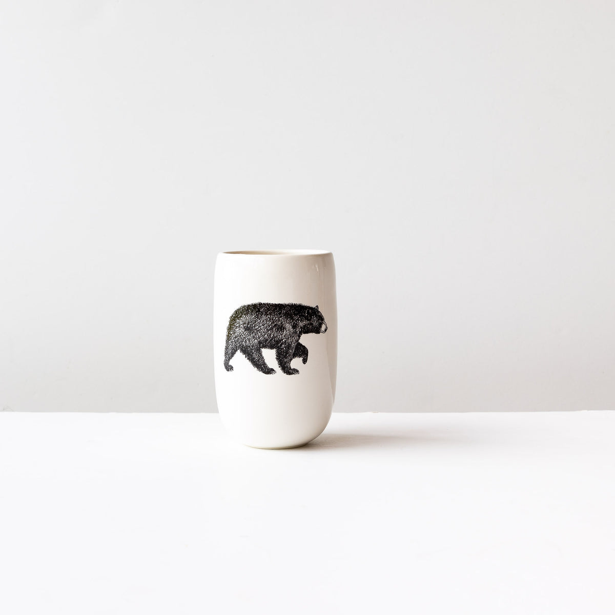 American Black Bear- Handmade Porcelain Beer Tumbler / Glass - Sold by Chic & Basta