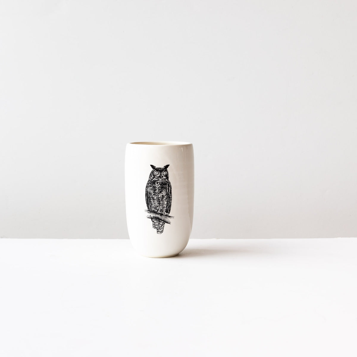 Great Horned Owl - Handmade Porcelain Beer Tumbler / Glass - Sold by Chic & Basta